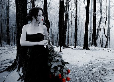 black, Alexis Bledel, white, forests, lips, Gothic, black dress, selective coloring, roses, hair up, smoky eyes - random desktop wallpaper