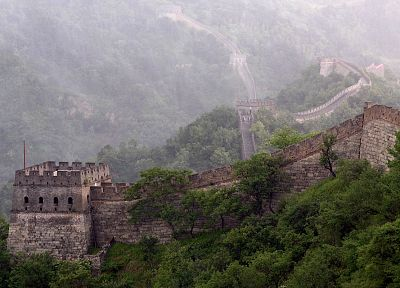 trees, architecture, buildings, Great Wall of China - desktop wallpaper