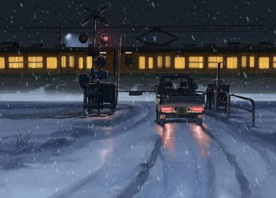 trains, Makoto Shinkai, 5 Centimeters Per Second, railroad crossing, railway - desktop wallpaper