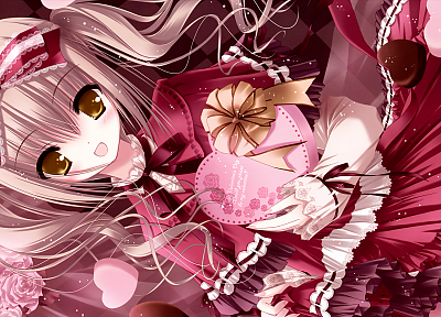 blondes, dress, flowers, chocolate, ribbons, Valentines Day, anime, hearts, golden eyes, Tinkle Illustrations, roses, anime girls - related desktop wallpaper