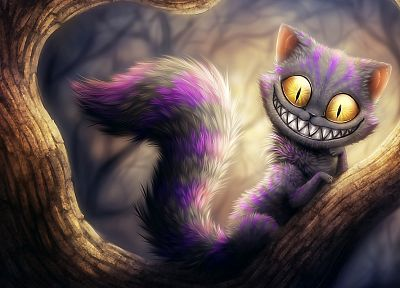 cats, Alice in Wonderland, yellow eyes, digital art, Cheshire Cat - related desktop wallpaper