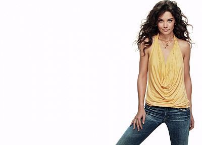 women, Katie Holmes, simple background - random desktop wallpaper