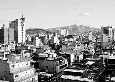 Korea, Asia, monochrome, Seoul, South Korea - random desktop wallpaper