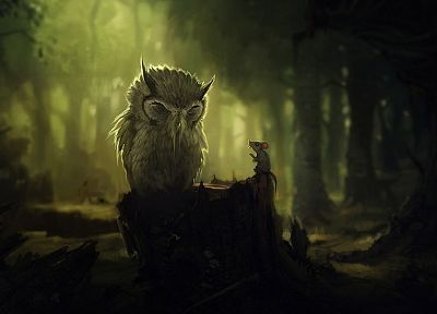 forests, birds, fantasy art, owls, artwork, mice - related desktop wallpaper
