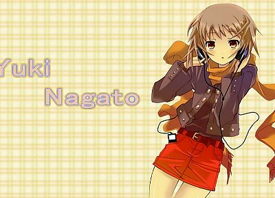 headphones, Nagato Yuki, The Melancholy of Haruhi Suzumiya, anime - related desktop wallpaper
