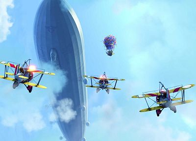 Up (movie), planes, vehicles, airship - desktop wallpaper