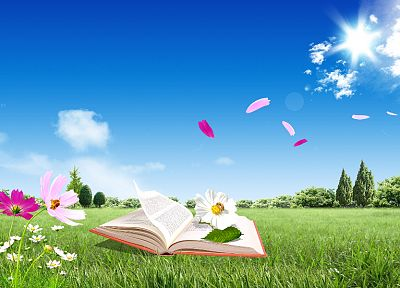 flowers, books, skyscapes - random desktop wallpaper