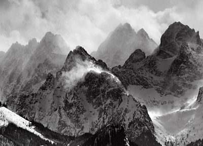 mountains, clouds, glacier, grayscale, monochrome - related desktop wallpaper