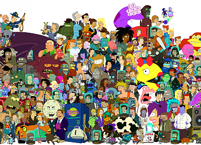 Futurama, Bender, Hermes, Professor Farnsworth, Turanga Leela, Zapp Brannigan, Scruffy, Philip J. Fry - related desktop wallpaper