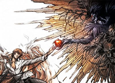Death Note, Ryuk, Yagami Light, apples - random desktop wallpaper