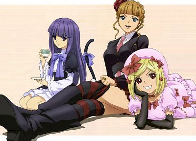 Umineko no Naku Koro ni, Beatrice, Frederica Bernkastel, Lambdadelta, simple background, witches, striped legwear - random desktop wallpaper
