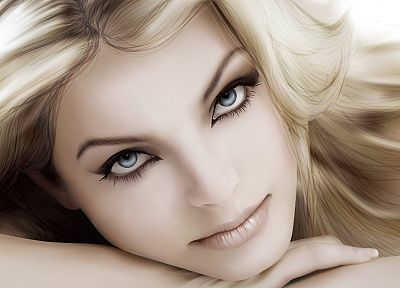 blondes, women, eyes, Yvonne Catterfeld, artwork, pale skin - random desktop wallpaper