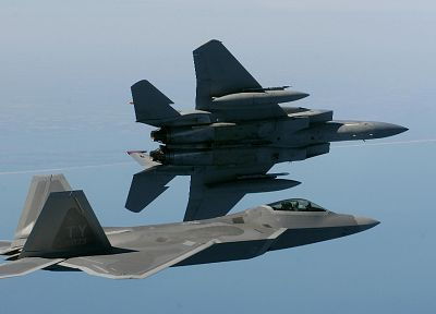 aircraft, military, F-22 Raptor, planes, F-15 Eagle - desktop wallpaper