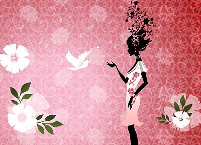 women, flowers, birds, leaves, patterns, sillhouette - desktop wallpaper