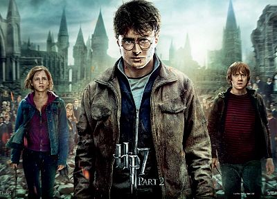 Emma Watson, movies, Harry Potter, magic, Harry Potter and the Deathly Hallows, Daniel Radcliffe, Rupert Grint, Hermione Granger, movie posters, Ron Weasley, Hogwarts - related desktop wallpaper