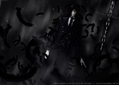 brunettes, suit, feathers, Kuroshitsuji, Sebastian Michaelis, anime, anime boys, white gloves - related desktop wallpaper