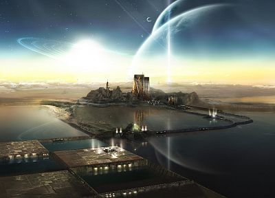 outer space, futuristic, planets, buildings, science fiction - related desktop wallpaper