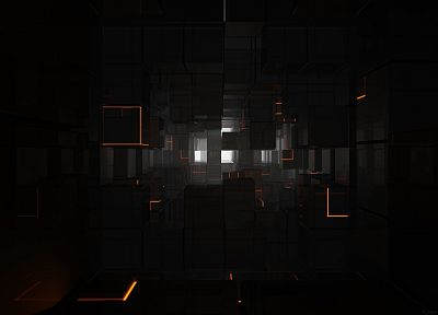 abstract, cubes, glow, lines, corridor - random desktop wallpaper