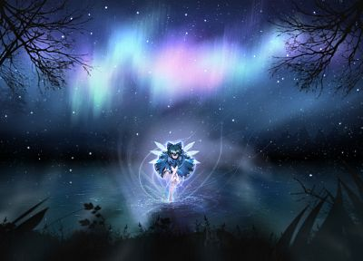 video games, Touhou, night, aurora borealis, Cirno, fairies, digital art, skyscapes - related desktop wallpaper