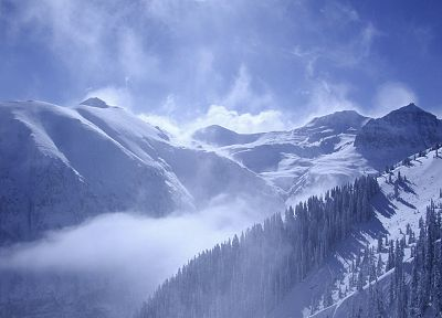 mountains, clouds, nature, winter, snow, trees - desktop wallpaper