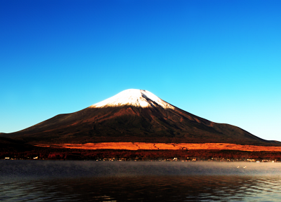 mountains, clouds, Mount Fuji, lakes, rivers - related desktop wallpaper