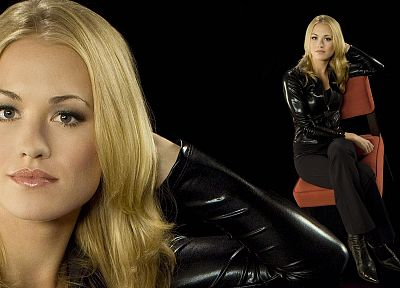 blondes, actress, Yvonne Strahovski, Chuck, Sarah Walker, black background - random desktop wallpaper