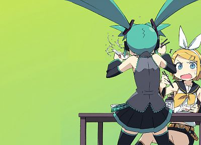 Vocaloid, Hatsune Miku, Kagamine Rin, twintails, simple background, detached sleeves - desktop wallpaper