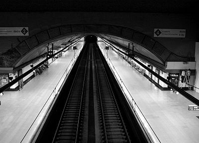 architecture, urban, subway, train stations, monochrome, metro station - desktop wallpaper