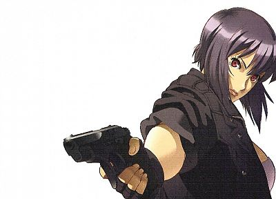 guns, Motoko Kusanagi, purple hair, Ghost in the Shell, simple background, anime girls - random desktop wallpaper
