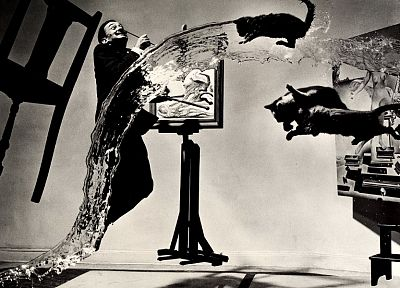 water, paintings, cats, men, Salvador Dalí, surreal, grayscale, chairs, artists - desktop wallpaper