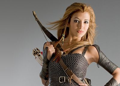 women, celebrity, arrows, chainmail, Krod Mandoon and the Flaming Sword of Fire, India de Beaufort, bow (weapon) - random desktop wallpaper