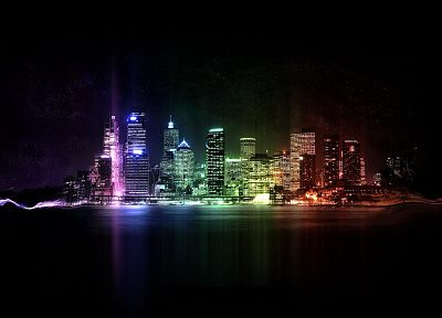 cityscapes, buildings, Rainbow City - random desktop wallpaper