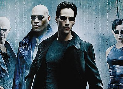 movies, Neo, Matrix, Trinity, Keanu Reeves, Morpheus, Carrie-Anne Moss, Laurence Fishburne - desktop wallpaper