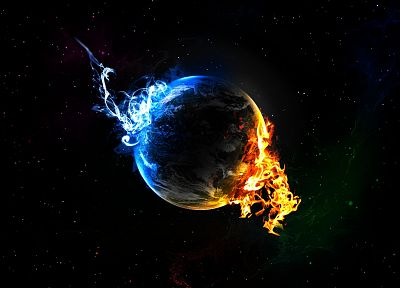 water, outer space, planets, fire, Earth, elements, black background - related desktop wallpaper