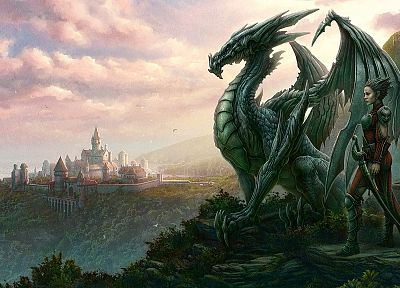 women, landscapes, wings, dragons, fantasy art, artwork, Kerem Beyit - related desktop wallpaper