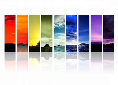 landscapes, multicolor, barcode, white background - random desktop wallpaper