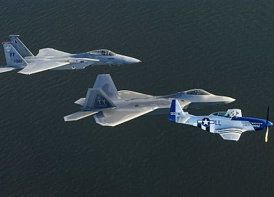 aircraft, military, F-22 Raptor, planes, F-15 Eagle, P-51 Mustang - desktop wallpaper