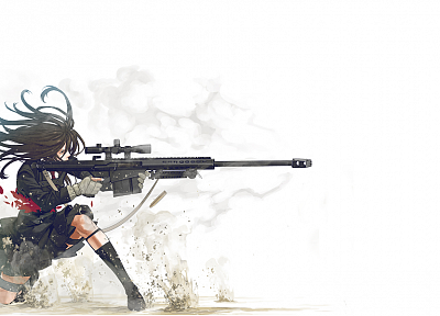 school uniforms, sniper rifles, Barret M82A1, simple background, Kozaki Yusuke, original characters - desktop wallpaper