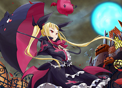 blondes, Halloween, red eyes, Blazblue, twintails, Rachel Alucard, umbrellas, anime girls - random desktop wallpaper