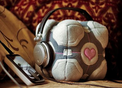 headphones, Portal, Companion Cube - random desktop wallpaper