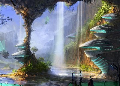 fantasy, science fiction, waterfalls - random desktop wallpaper