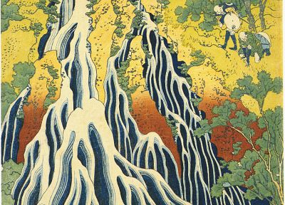 Japan, paintings, waterfalls, Katsushika Hokusai - random desktop wallpaper