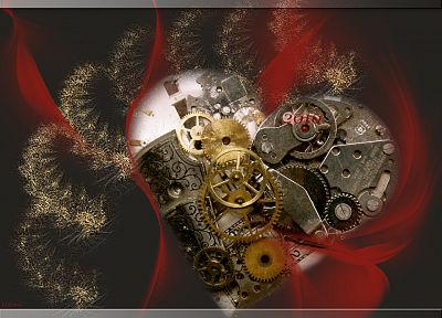 gears, clockwork, hearts - random desktop wallpaper