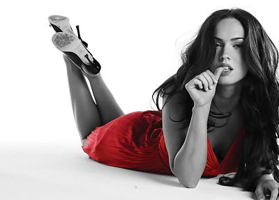 brunettes, women, red, Megan Fox, actress, celebrity, selective coloring - related desktop wallpaper