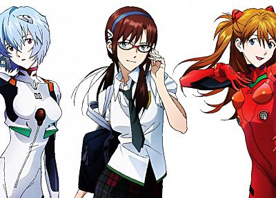 school uniforms, Ayanami Rei, Neon Genesis Evangelion, Makinami Mari Illustrious, Asuka Langley Soryu, simple background - desktop wallpaper