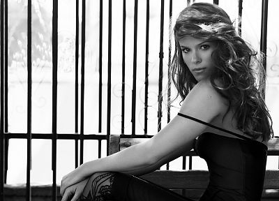 women, grayscale, Kate Mara, monochrome - random desktop wallpaper