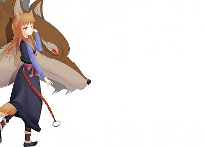 Spice and Wolf, animal ears, Holo The Wise Wolf, simple background, inumimi, white background - desktop wallpaper