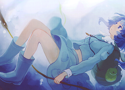 Touhou, twintails, Kawashiro Nitori, knees together - desktop wallpaper