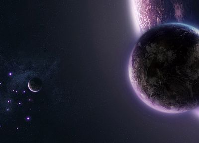 outer space, stars, planets, purple, science fiction - desktop wallpaper