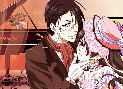 brunettes, piano, flowers, suit, glasses, trap, Kuroshitsuji, Ciel Phantomhive, Sebastian Michaelis, anime, anime boys, white gloves - desktop wallpaper